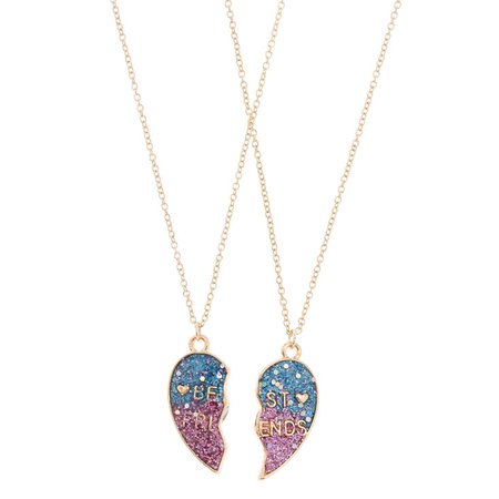 Pink & Blue Heart BFF Necklace Set | Claire's US
