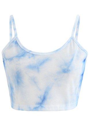 Tie-Dye Crop Tank Top in Blue - Retro, Indie and Unique Fashion