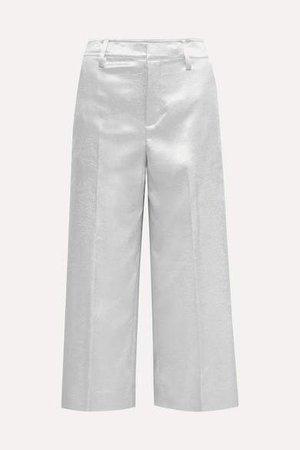 Cropped Metallic Stretch-shantung Wide-leg Pants - Silver