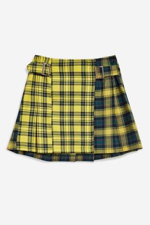Mixed Check Buckle Kilt Mini Skirt | Topshop