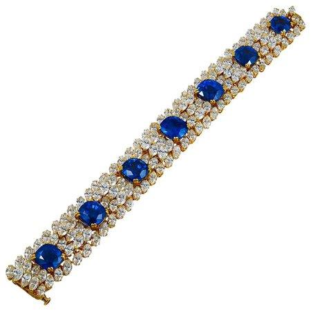 Cartier Diamond Ceylon Sapphire Bracelet For Sale at 1stDibs