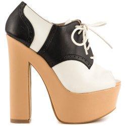 Shelly's London Chiappera Black/White Heels