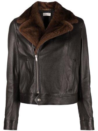 Saint Laurent, faux-shearling Collar Leather Jacket