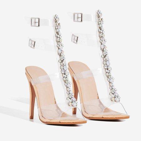 Belfonte Jewel Embellished Perspex Heel In Rose Gold Patent | EGO
