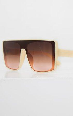 Cream Oversized Flat Top Square Sunglasses | PrettyLittleThing