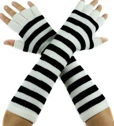 Black Fingerless Gloves / Wrist Warmers Cabled Acrylic Extra Long and Soft