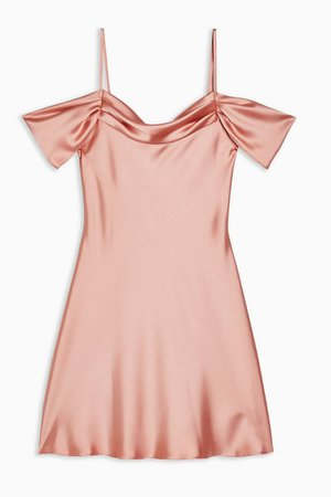 Rose Pink Satin Cold Shoulder Dress | Topshop