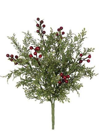 Leaf Bush with Burgundy Berries | Fake Winter Greenery | Afloral.com