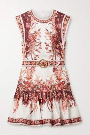 Wavelength Belted Fluted Floral-print Linen Mini Dress - White