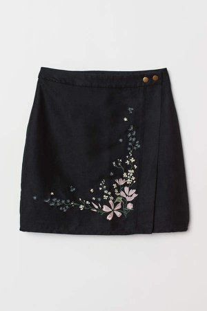 Wrapover Skirt with Embroidery - Black