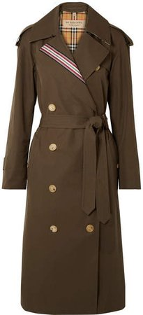 Striped Cotton-gabardine Trench Coat - Army green