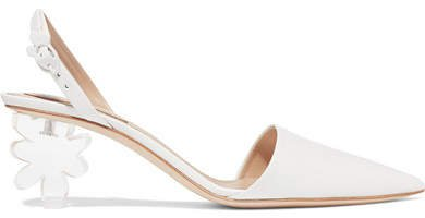 Leather And Perspex Slingback Pumps - White