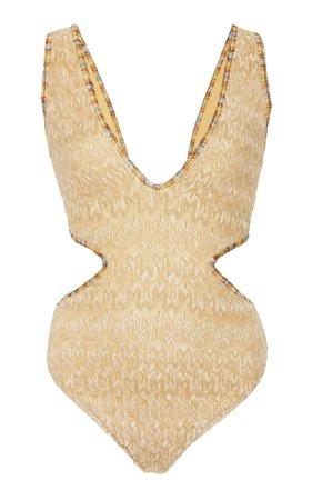 Missoni Mare Gold Wave Cutout Crepe One Piece Swimsuit Size: 40