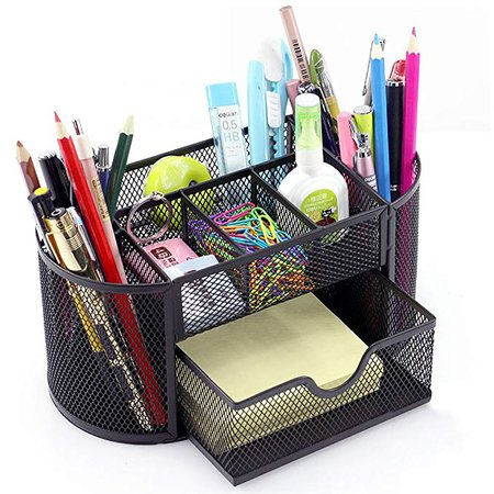 Amazon.com: MONBLA Desk Supplies Organizer Multi-Functional Stationery Caddy Mesh Oval Pencil Holder Desk Office Supplies Organizer 9 Compartments with Drawer for Note Pads Black: Gateway