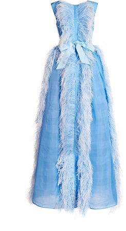 Huishan Zhang Beau Feathered Silk-Blend Dress