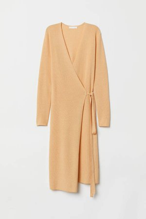 Ribbed Wrap-front Dress - Yellow
