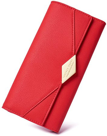 Amazon.com: Women Wallet Soft Leather Designer Trifold Multi Card Organizer Lady Clutch Red: Clothing
