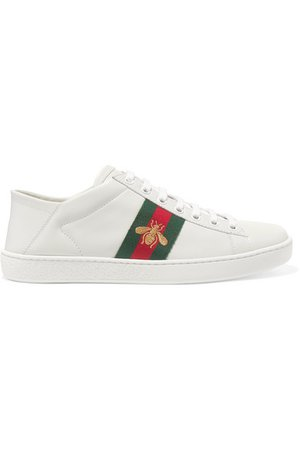 Gucci | Ace embroidered leather collapsible-heel sneakers | NET-A-PORTER.COM
