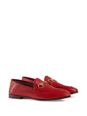 Shop red Gucci Jordaan Horsebit loafers with Express Delivery - Farfetch