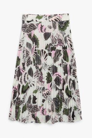 Pleated midi skirt - Multi abstract print - Midi skirts - Monki WW