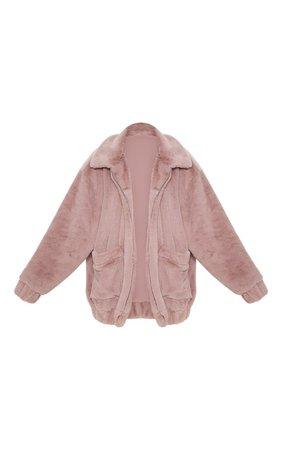 Brown Faux Fur Pocket Front Coat   PrettyLittleThing