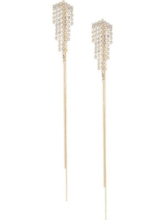 Gold Venna Crystal Leave Fringe Earrings | Farfetch.com