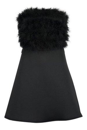 Scuba Feather Trim Mini Skater Dress | boohoo
