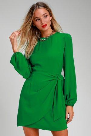 Cute Green Dress - Long Sleeve Skater Dress - Tie-Front Dress