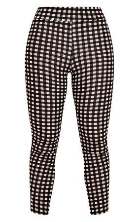 Black Gingham Check Skinny Pants | PrettyLittleThing USA