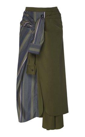 Marni Striped Tie Illusion Cotton Skirt