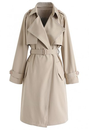 Open Front Pockets Belted Coat in Sand - Long Sleeve - TOPS - Retro, Indie and Unique Fashion