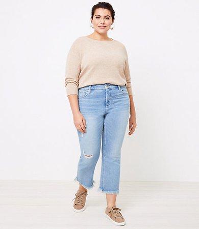 High Waist Flare Crop Jeans in Light Indigo Wash