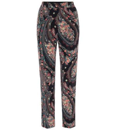 Etro - High-rise straight silk pants | Mytheresa