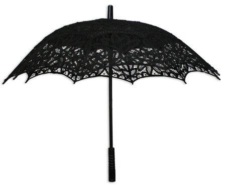 Battenberg Lace Parasol - Black