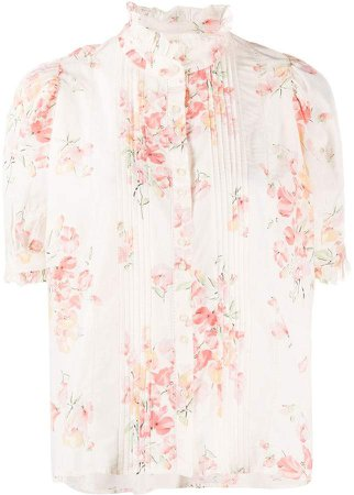 floral-print ruffled-neck blouse