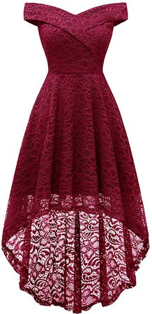 Amazon.com: Homrain Women's Vintage Floral Lace Off Shoulder Hi-Lo Wedding Cocktail Formal Swing Dress Dark Red 2XL: Clothing