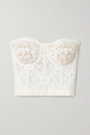 Cotton-blend Guipure Lace Bustier Top - White
