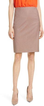 Vikena Check Wool Pencil Skirt