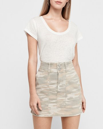 Super High Waisted Camo Denim Mini Skirt
