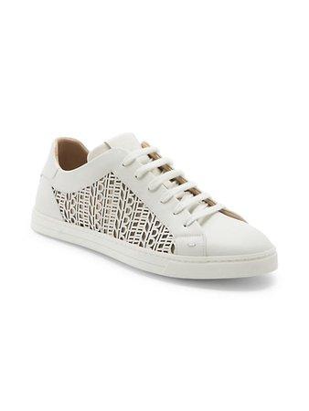 Fendi Vitellow Laser Cut Low-Top Sneakers   SaksFifthAvenue