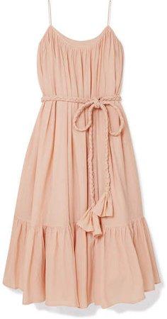 Rhode Resort - Lea Belted Cotton-voile Midi Dress - Peach