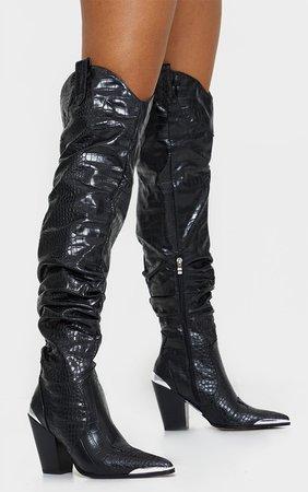Black Croc Slouchy Thigh High Western Boots   PrettyLittleThing USA