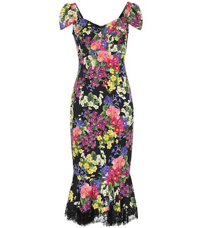 Floral stretch silk-blend dress