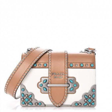 PRADA City Calf Studded Folk Cahier Bag Bianco White Caramel 253688