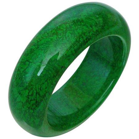 Natural Maw-Sit-Sit Jade Statement Bangle Bracelet For Sale at 1stDibs