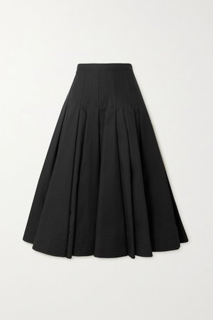 Black Pleated cotton silk-blend midi skirt | Valentino | NET-A-PORTER
