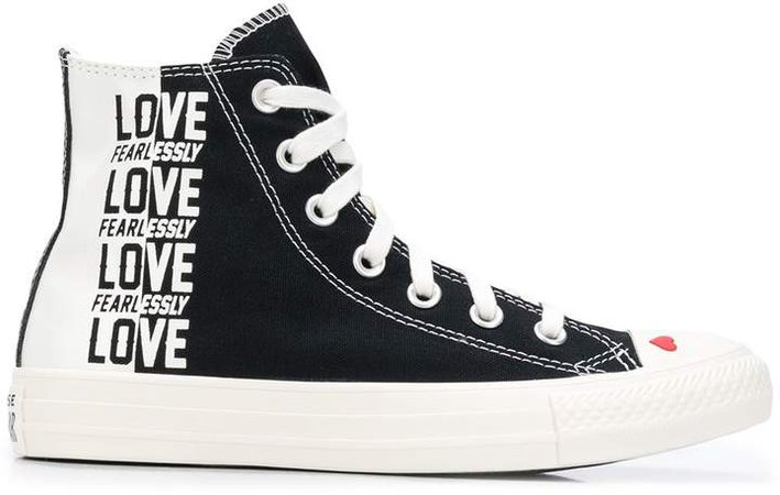 Love Fearlessly print sneakers