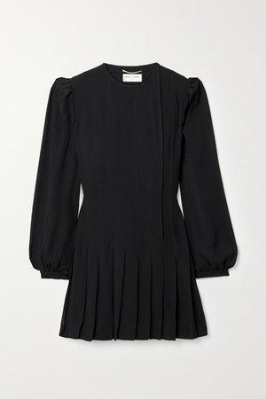 Black Pleated crepe mini dress | SAINT LAURENT | NET-A-PORTER