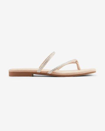 Metallic Strappy Toe Ring Slide Sandals