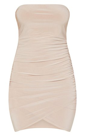 Black Bandeau Wrap Bodycon Dress | PrettyLittleThing USA
